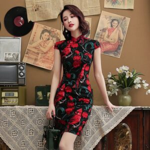 Robe Chinoise Fleur Rouge