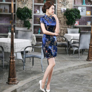 Robe Chinoise Bleu Nuit