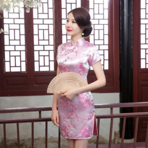 Robe Chinoise Courte Rose