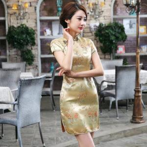 Robe Chinoise Dorée