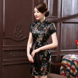Robe Chinoise Fendue Noire