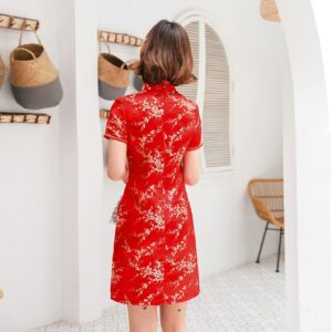 Robe A Fleurs Chinoise Rouge
