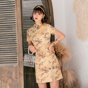 Robe Chinoise Dorée Femme