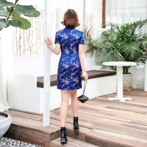 Robe Chinoise De Luxe Bleu