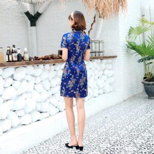 Robe Chinoise Courte Bleue