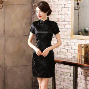Robe Chinoise Courte Noire